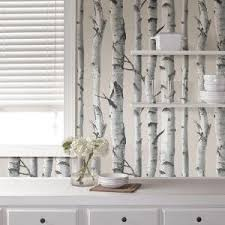 nuwallpaper multi color birch tree wallpaper nu1650 the home depot