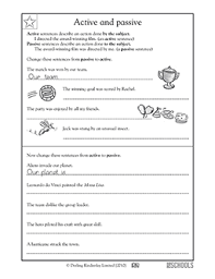 5th grade writing worksheets active and passive sentences