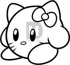 draw kirby kitty step step darkonator