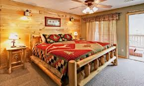 Decorating Ideas Bedroom Cabin Bedroom Decorating Ideas On Unique Mountain Blue Blanket 736