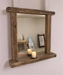 Rustic Bathroom Mirrors - reclaimed wood rustic bathroom farmhouse mirror with candle shelf