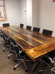 Hand Crafted 10 X 4 Reclaimed Conference Table With Steel I Beam