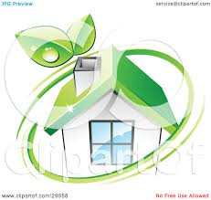 clipart illustration of a pre made logo of leaves and a green