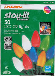 sylvania stay lit led multicolored faceted c9 lights