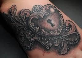 beautiful dark heart lock key tattoo on arm tattooshunter com