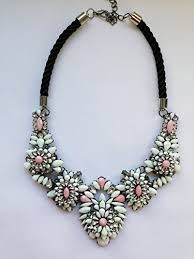 coloured statement necklace images Gorgeous multi gem cream and peach coloured chunky cord fastening jpg