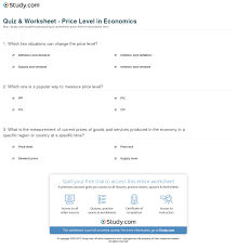 quiz u0026 worksheet price level in economics study com