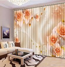 Rose Home Decor 2017 Curtains For Living Room Orange Rose Flower Custom Curtain