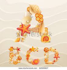 vector sea life font on sand stock vector 82889821 shutterstock