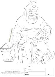 free printable clash of clans hog rider coloring pages 1 clash