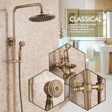 bath shower sets promotion shop for promotional bath shower sets antique solid brass bath tub mixer taps shower faucet bathroom system set faucet ceramic valve bronze lavatory plumbing fixture