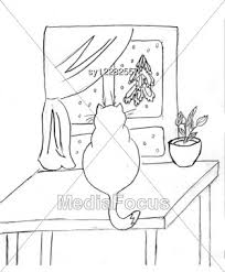 drawing of the cat on table against window stock image sy12282557