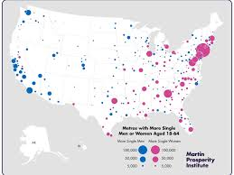 maps show cities where single women outnumber men business insider