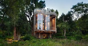 wood metal treehouse is a modern gem nestled among the trees