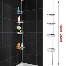 Wall Organiser Popamazing Quality Telescopic 4 Tier Bathroom Shower Rack Corner
