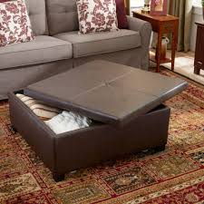 brown leather square storage ottoman large square storage