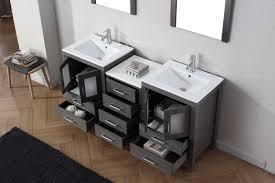 Bathroom Vanity Vaughan by Virtu Usa Dior 66 Double Bathroom Vanity Set In Zebra Grey