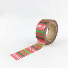 red green and white vertical striped washi tape christmas craft