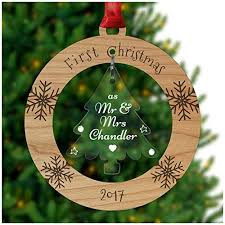 personalised 1st married as mr and mrs tree bauble