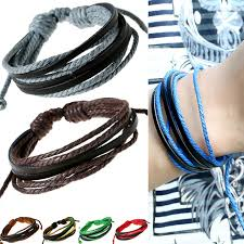 multi leather bracelet images Male leather bracelets for women men multi layers wax cord cow jpg