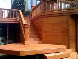 traditional outdoor deck with semi transparent deck stain and