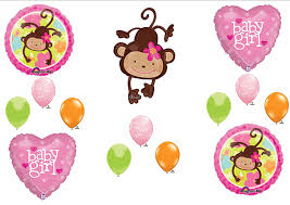 mod baby shower mod monkey baby girl shower balloons decorations