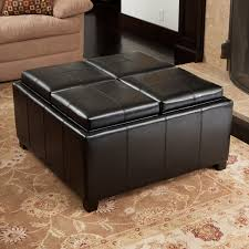 Square Leather Ottoman With Storage Coffe Table Ottoman Coffee Table Square Tufted Leather Ottoman