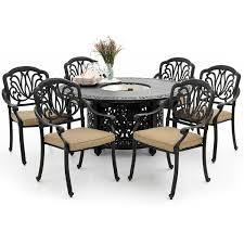 rosedown 7 piece cast aluminum fire pit dining set by lakeview