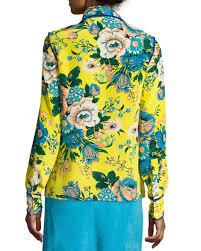 diane von furstenberg floral print long sleeve silk shirt multicolor