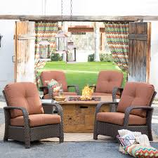 Patio Furniture Sets With Fire Pit by Belham Living Ariana All Weather Wicker Chat Set With Julesburg