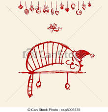 eps vectors of christmas card funny santa cat for your design
