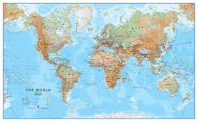 World Map With Flags World Wall Map Physical