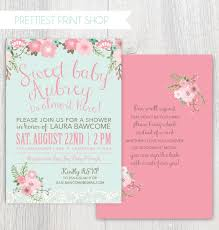 printable baby shower invitation floral and lace pink and mint