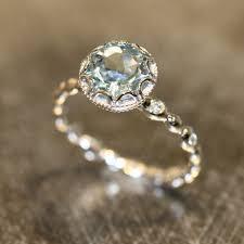 aquamarine diamond ring floral aquamarine engagement ring in 14k white gold diamond pebble