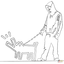 haring dog by banksy coloring page free printable coloring pages