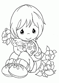 cute and flowers spring coloring page for kids seasons
