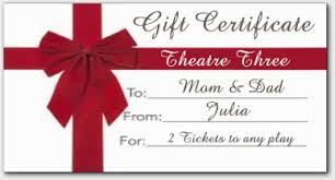 dinner and a gift card purchase gift certificates for theatre three