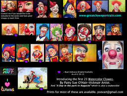 larger watercolor clowns the art of patty sue o u0027hair vicknair
