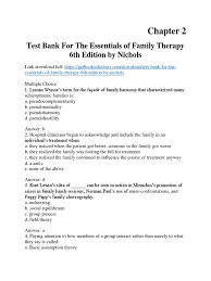 test bank for the essentials of family therapy 6th edition by