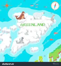 Greenland Map Greenland Mainland Cartoon Map Fauna Flora Stock Vector 509109802