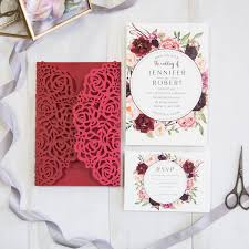 wedding invitations burgundy stunning and burgundy floral laser cut wedding
