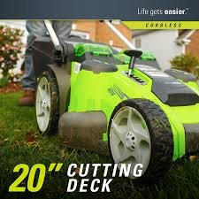 amazon com greenworks 20 inch 40v twin force cordless lawn mower