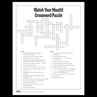 Anatomy And Physiology Games And Puzzles Crossword Dental Health Puzzles And Games American Dental Association