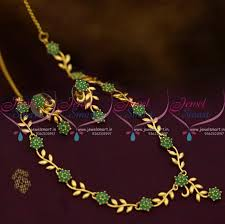 emerald green fashion necklace images Nl10263 simple leaf floral design emerald green stones gold plated JPG