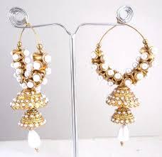 gold jhumka hoop earrings polki jhumki pearl drop hoop earrings