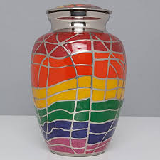 burial urns for human ashes rainbow cremation urn with silver accents funeral urn for human