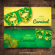 banners of carnival ornamental masks vector free