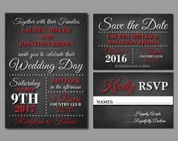 Red And Black Wedding Invitations Red Wedding Invites Etsy
