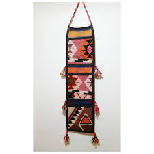 kilim wall hanging storage with 3 pockets country home decor