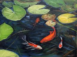 nature painting koi pond water lilies by christine montague